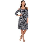 Susan Graver Liquid Knit 3/4 Sleeve Cold Shoulder Dress, Black Abstract, 2X