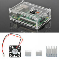 For Raspberry Pi 3 Model B Cooling Fan Aluminum Heatsink Clear Box Parts Kit Set