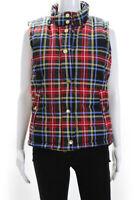 Gretchen Scott Designs Womens Plaid Puffer Vest Jacket Blue Red Size Small