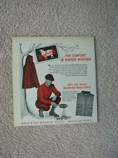 Vintage 1952 Woolrich Red Plaid Wool Hunting Clothes Comfort Rugged Print Ad