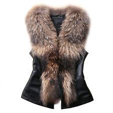 Women Faux Fur Leather Waistcoat Winter Warm Gilet Tops Vest Coat Jacket Outwear
