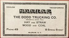 Ink Blotter ~ The Dodd Trucking Co. McGraw NY ~ Moving Hay Straw Wood Coal