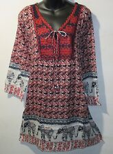 Top 1X Plus Black Red Floral Elephant Embroider Cotton Henley Long Tunic NWT 170