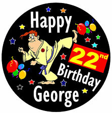 KARATE PERSONALISED FUNNY BIG BIRTHDAY BADGE (MALE) - ANY NAME AND AGE - NEW