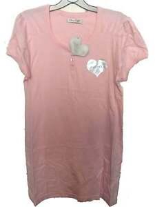 Baby Pink 100% Cotton Nighty UK 10 - 12 Ladies Nightshirt Short Nightdress
