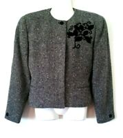 WOMEN'S JONES NEW YORK BLACK AND WHITE TWEED LINED 100% PURE WOOL JACKET SIZE 6
