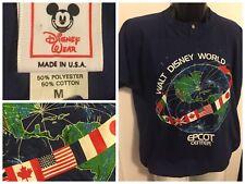 VTG WALT DISNEY WORLD EPCOT CENTER BUTTON UP T SHIRT Mickey Wear Navy Mens, M