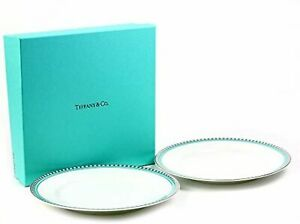 TIFFANY & Co Plate Pair Platinum Blue Band Desert Plate With regular paper L04