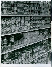 Supermarket Canned Goods Food Vegetables Corn Shelves Vintage Store Photo 7X9