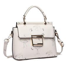 Ladies PU Leather Satchel Shoulder Cross Body Handbag Tote Bag Flamingo Print White