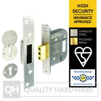 "5 Lever Dead Lock BS British Standard 3621 64/76mm (2.5/3"")Brass/Stainless Steel"
