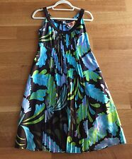 Tory Burch Brown/teal Floral Print Pleated Front Silk Dress Sz 4