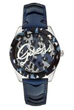 GUESS Blue and Silver-Tone Sexy Animal-Print Watch U0455L1