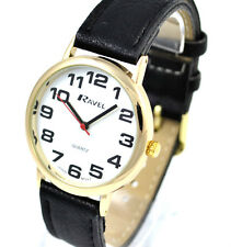 Ravel Gents Big Numbers Wristwatch Easy Read with Long Black Faux Leather Strap