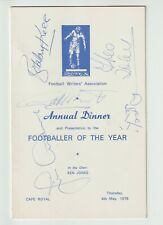 More details for 1978 football writers footballer of the year menu signed 25 ex managers superb