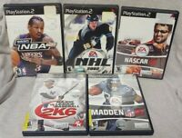 PS2 Sony Playstation 2r Sport GAME Lot Madden NFL Nascar Race MLB NHL Hockey NBA