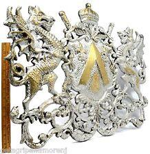 Vintage Coat Of Arms Big 19x24 Wall Plaque! Medieval Dragons Crest Cast Aluminum