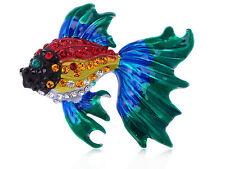 Goldfish Crystal Rhines Pin Brooch New Rainbow Enamel Red Blue Green Happy Fancy