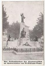 St Niklaas Waas - War Memorial - Belgium / Belgique - vintage postcard 1920s era