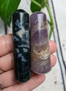 Moss Agate Amethyst Mini Wands Crystal Reiki Charged 2.4oz *Read Below*