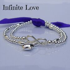 Sterling Silver Infinite Love Infinity & Heart Stacking Bracelet Duo