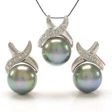 Black Cultured Pearls Earrings & Pendant Set 14K Solid White Gold Diamonds TPJ