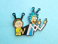 UK SELLER  Rick and Morty pin badge. Middle finger