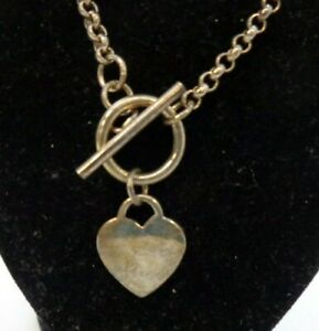 Sterling Silver 925 Heart Chain Necklace Front Bar Fastening Gift Boxed VGC #137