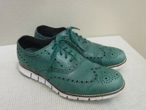 COLE HAAN ZEROGRAND 8.5 M Green Perforated Leather Wingtip Saddle Oxfords Shoes