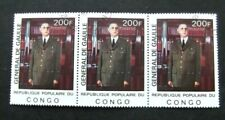 Congo-1977-Charles De Gaulle-200F-Block of 3-Used