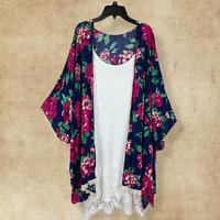 Plus Size UMgee Boho Floral Crochet Gypsy Navy Kimono Cardigan Hippie Duster