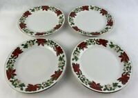 "Gibson Poinsettia Holiday China Lot of 4, 7"" Salad Dessert Plates Christmas"