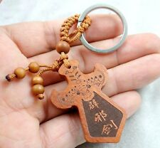 50*33MM Hand-carved Sword of evil spirits Wooden Crafts, Key Chain, Key Ring D12