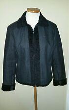 Etcetera black denim jacket with faux lamb's wool trim sz 6 excellent condition!