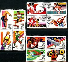 1984 LA Olympics 3 Blocks of 4 Air Mail Stamps MNH In Scott # Order C101 to C112