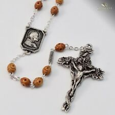 St. Francis of Assisi Rosary with  Brown Wood Beads Made in Italy
