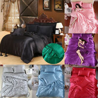 Silk Satin Cover Silky Fitted Sheet Soft Pillow Cases Bedspread Bedding Set 4pcs