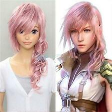 HOT SELL Lightning Long Curly Pink Anime Cosplay Skin Top Hair Wig free wigs cap