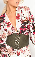 IKRUSH Women's Elizah Lace Up Corset Belt  in KHAKI Size 1SZE