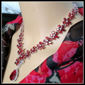 18k white gold Over Red Ruby Bridal Cocktail Party necklace Earring set