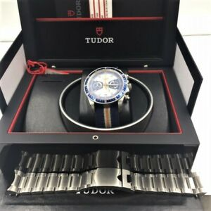 TUDOR 70330B Heritage Chronograph 42MM $4525 Retail Stainless Steel Watch