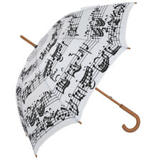 Black & White Music Notes Umbrella - Black Notes on White Background