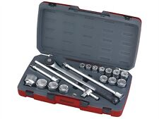 "Teng tools T3418-6 18pc 3/4"" square drive socket set hexagon sockets 19-50mm"