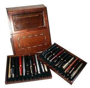 Vintage Dark Cherry Wood Pen Case w. 22x Pens Mont Blanc, Cartier etc.  (***)