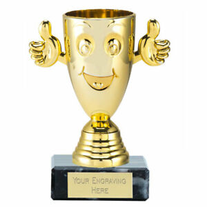 Happy Cup Trophy Award Gold 4 3/8 inch (11cm) ,Free p&p & Engraving