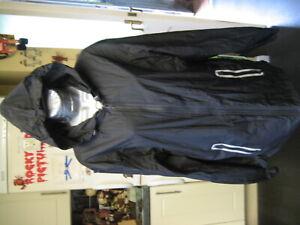 "DKNY black hooded lightwieght nylon shower anorak kagool jacket L 46"" chest"