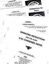 ALLEN E-191 CONDENSER TESTER INSTRUCTION SHEETS WITH WIRING DIAGRAM  RE