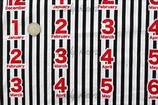 Yuwa Kumiko Fujita Months Date Numbers Stripe Black Japanese Fabric Half Yard