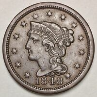 1848 Large Cent XF/AU