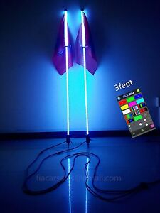 fialighting Pair 3feet RGB LED Bluetooth Whips Lights for Off-road Sandtoys ATV